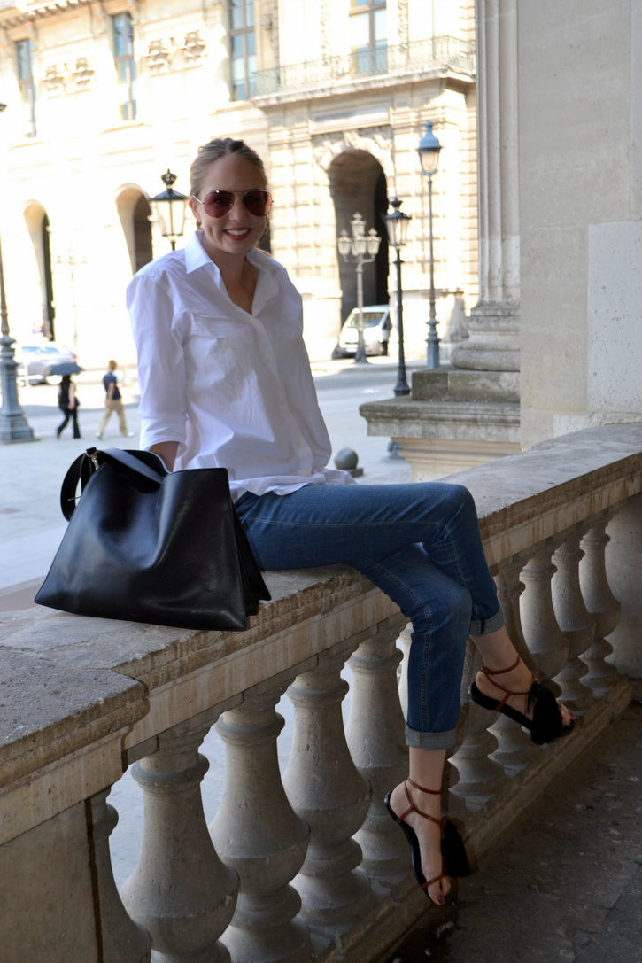 White Zara Shirt, Cos Denim, Celine Handbag and Ray Ban Sunglasses