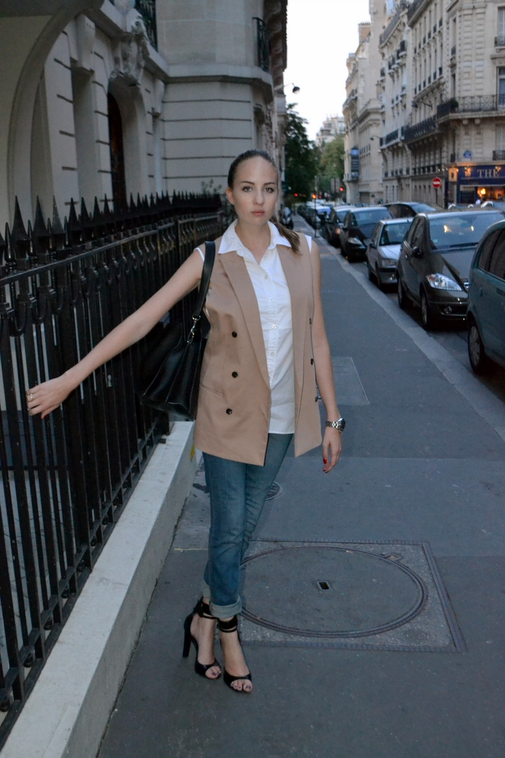 All Saints blazer, white shirt, baggy denim, Celine handbag, Alexander Wang heels
