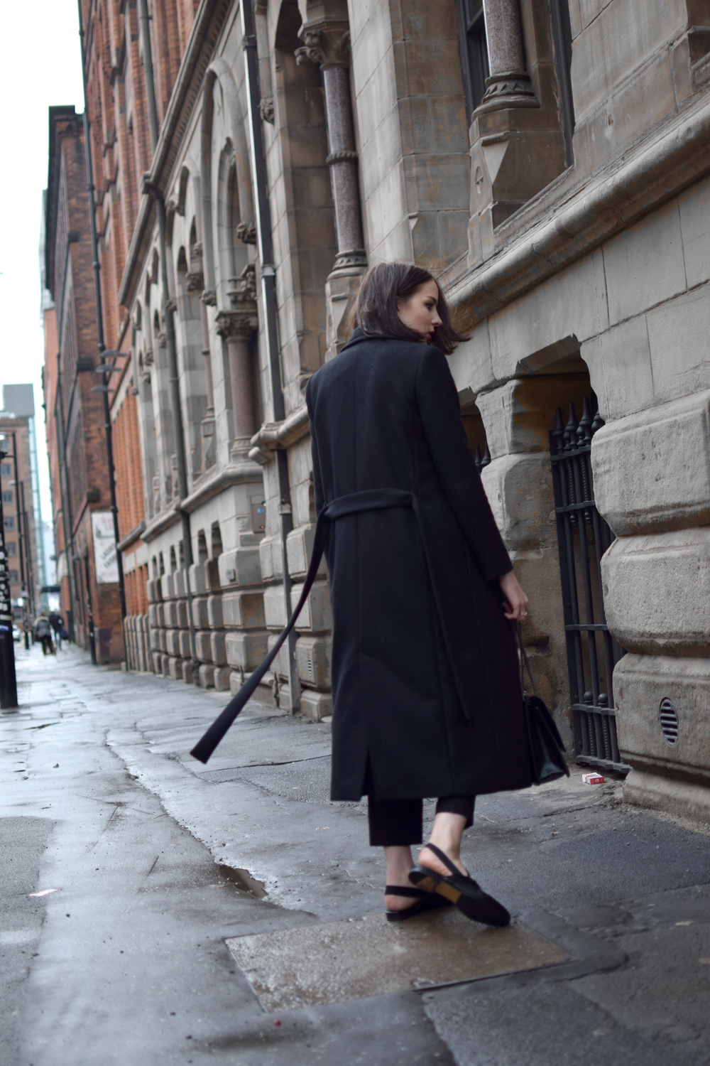 long black wool coat all black style