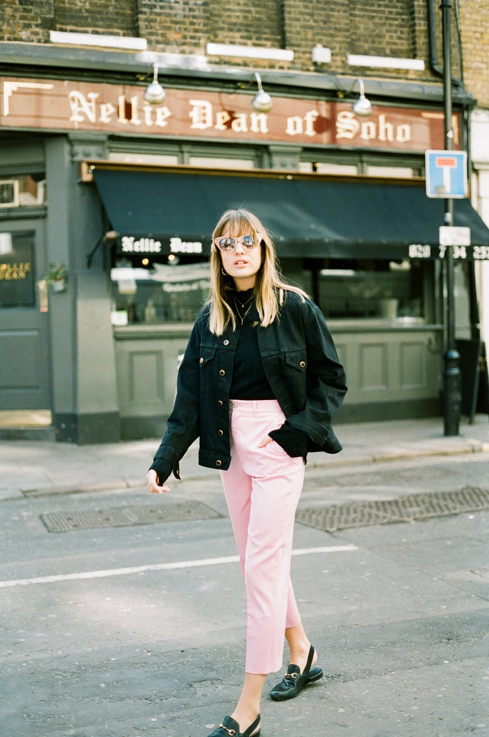 jacket: khaite trousers: gucci shoes: gucci sunglasses: no.21 knit: weekday   - click the links to shop.