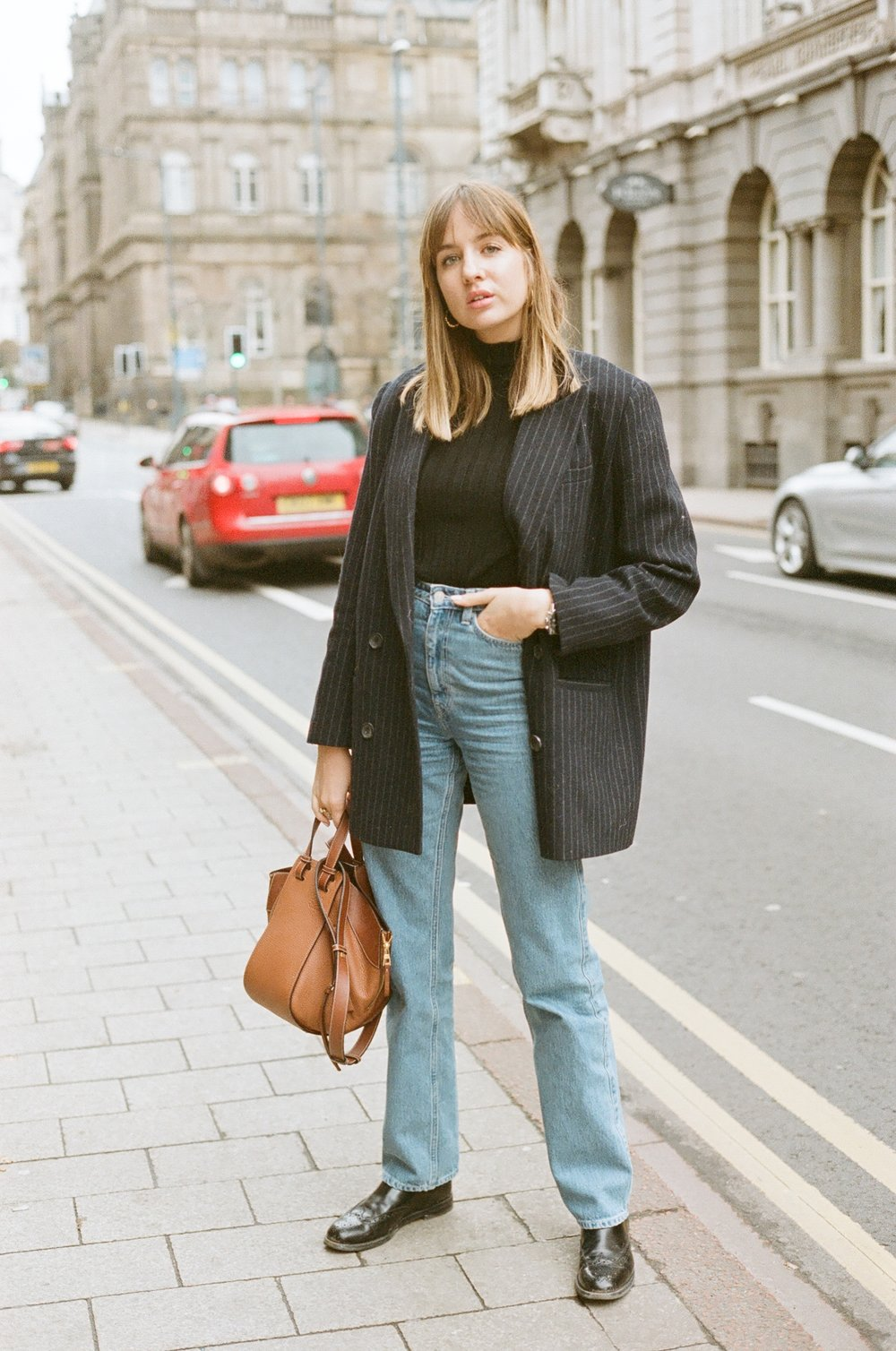 BLAZER: & OTHER STORIES, JEANS: WEEKDAY, BAG: LOEWE | BOOTS: CHURCH'S -