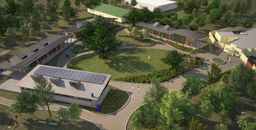 Pods of classrooms, with rooftop photovoltaic panels,  frame two majestic mango trees in a landscaped courtyard