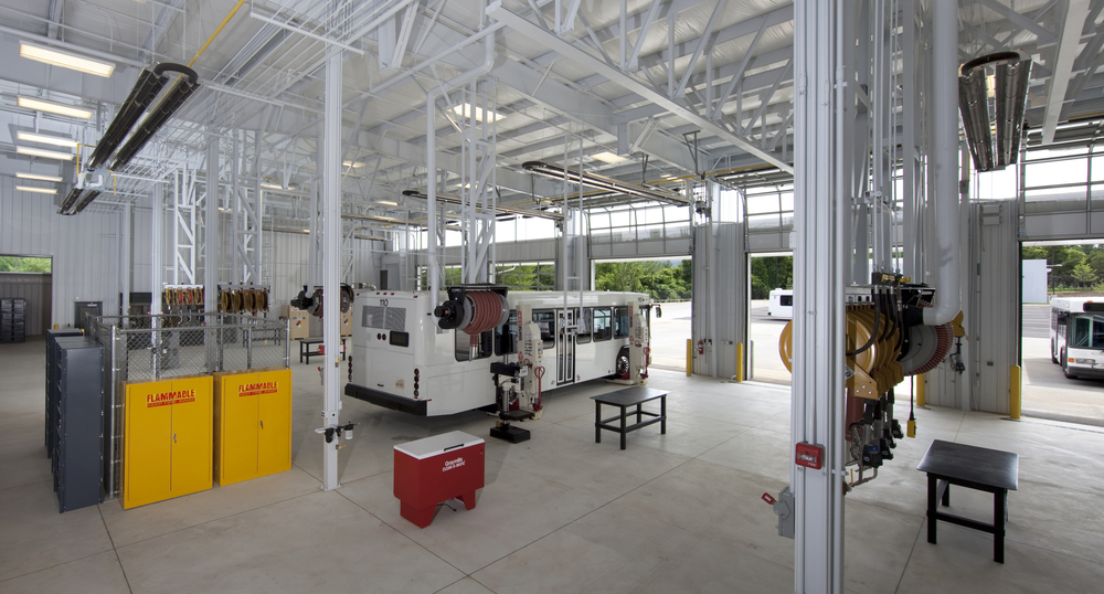 South-facing glass doors and north-facing clerestories provide abundant light to the vehicle maintenance areas.