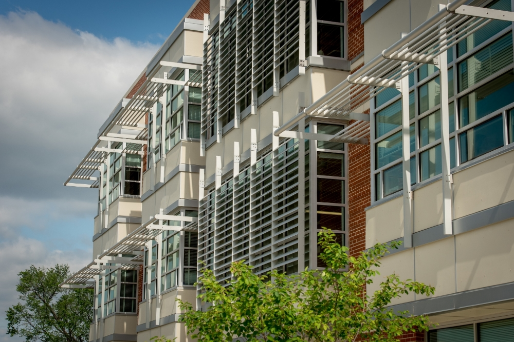 Exterior shading on the south-facing façade was optimized through iterative energy modeling and analysis to reduce energy consumption and minimize unwanted glare in the learning environment.