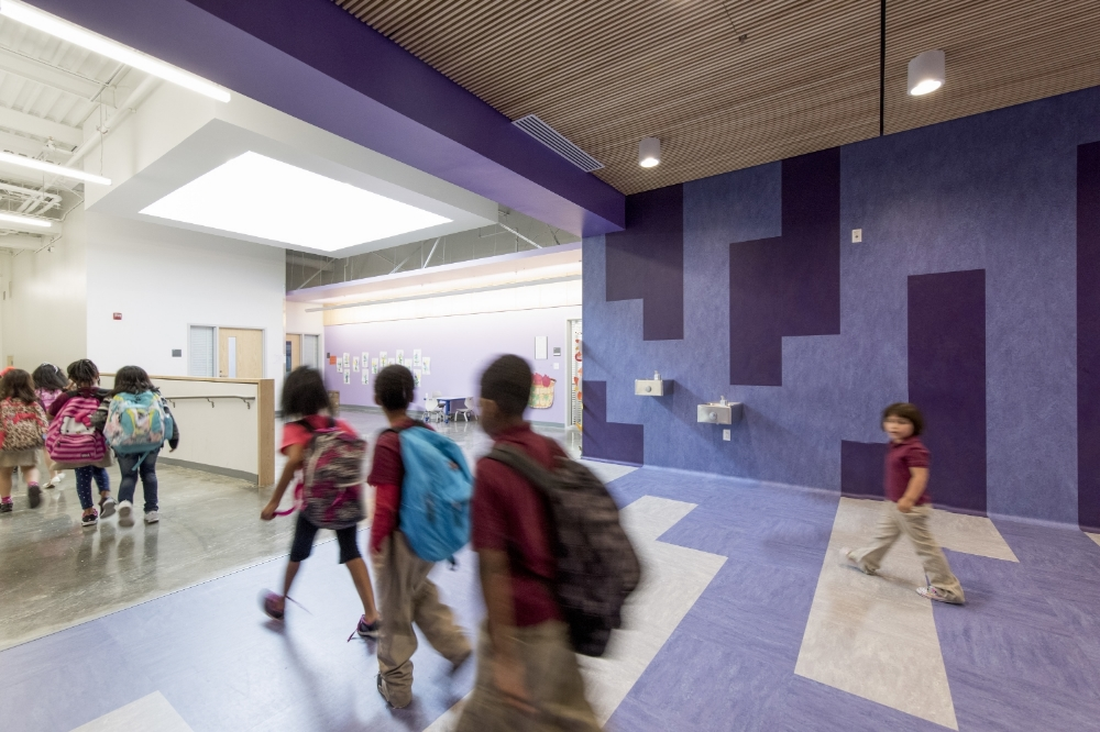 Rooftop monitors provide abundant daylight to the Pre-K common areas.
