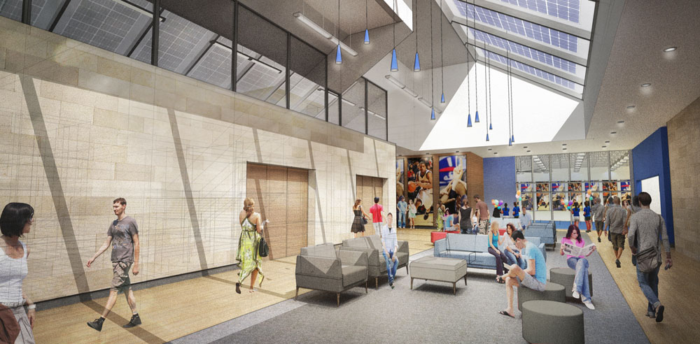 An open and light-filled concourse lounge serves student-athletes and the athletic administration by day and arena patrons by night (and weekend.)