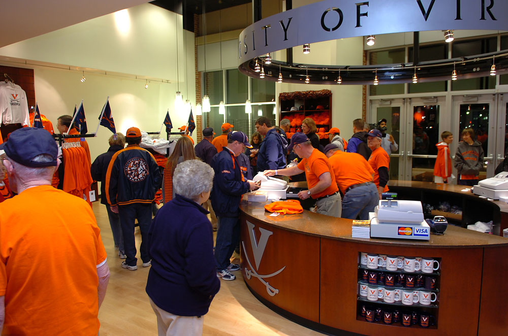 Home team fans enjoy shopping in UVa's Team Store.