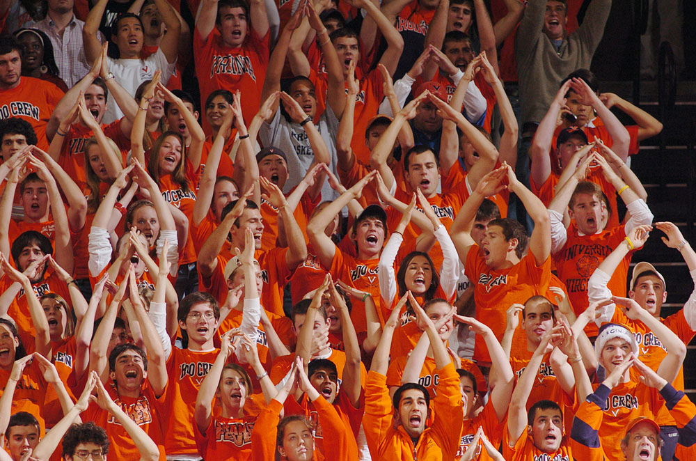 School spirit on display at a men's basketball game.