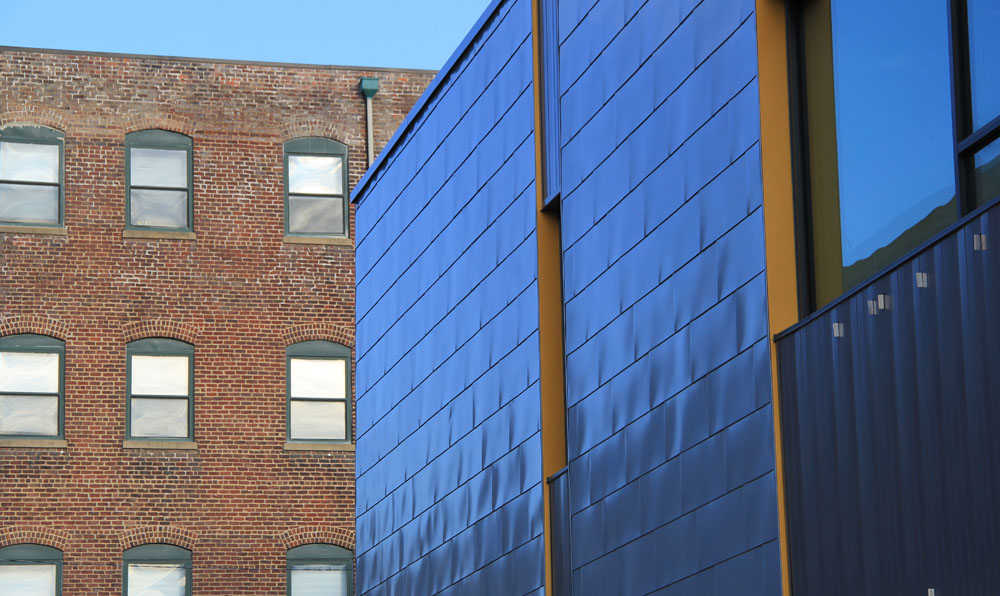 Zinc shingles provide a distinctive appearance along Marshall Street.