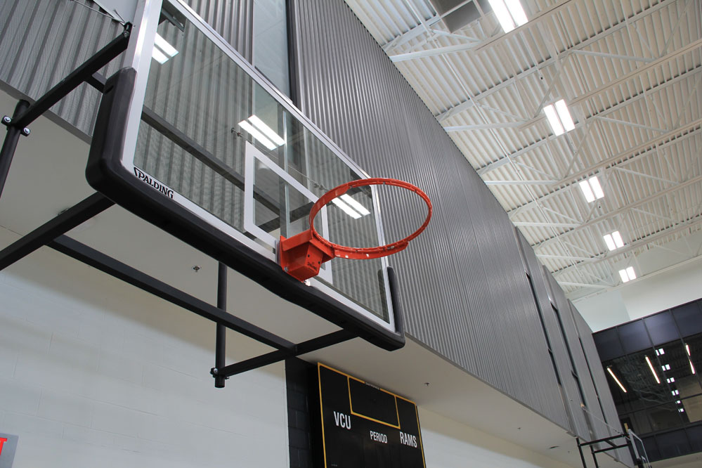 Energy-efficient LED lighting provides competition-level lighting in the practice gyms.