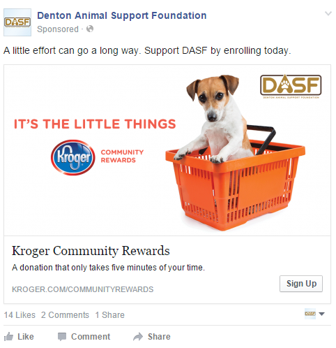 Facebook Ad by Swash Labs for Denton Animal Support Foundation, 2015