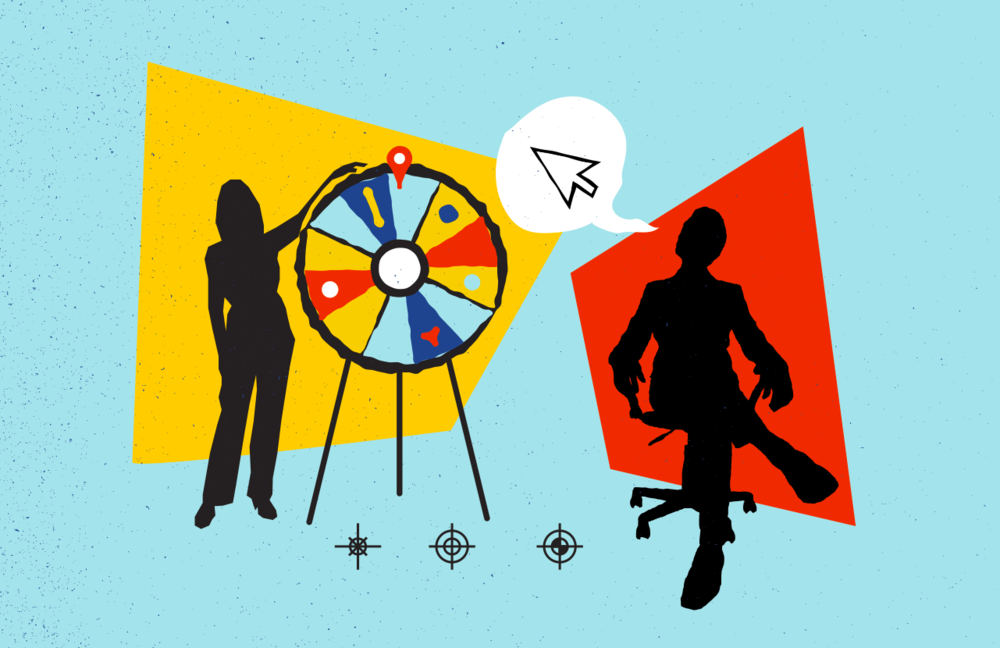 Illustration of silhouetted figures spinning a wheel of chance