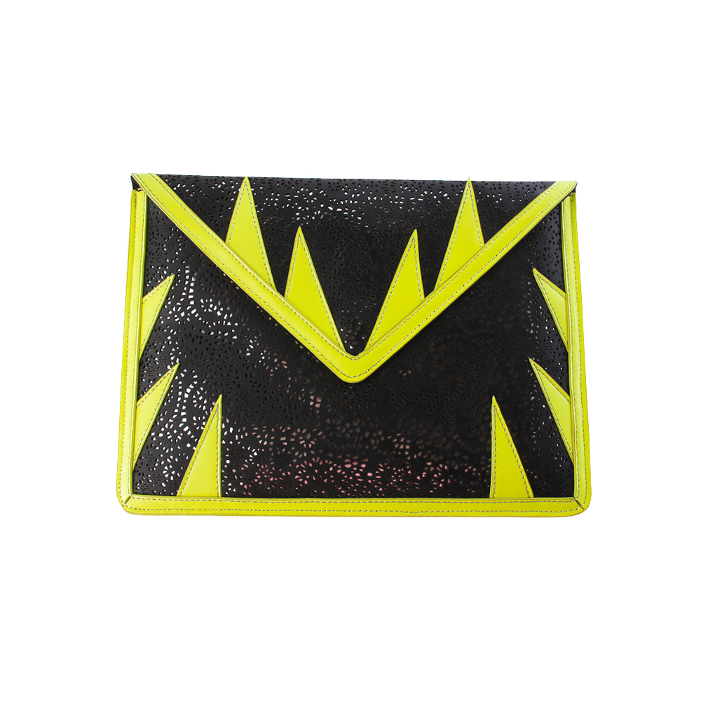 A-MORIR MATA HARI BLACK AND YELLOW IPAD CLUTCH.jpg