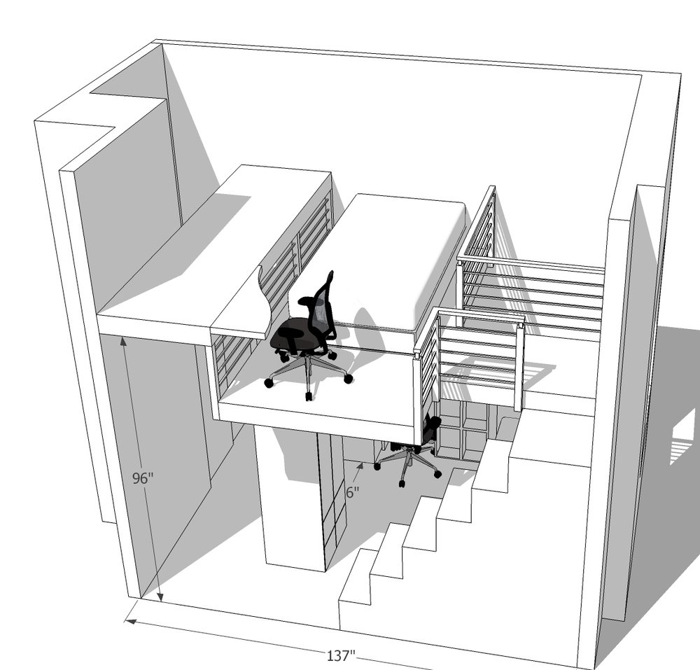 """Plans for a big kids loft in Cobble Hill, BK: Big staircase with storage, desk custom designed to allow entry into room (door was down on left, 96"""" tall). Two armoire/closets create structural elements for loft above, and also give the room more storage!"""