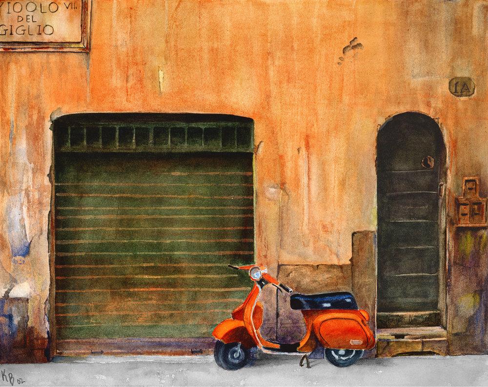 Orange Vespa 05 by Karen Flescher