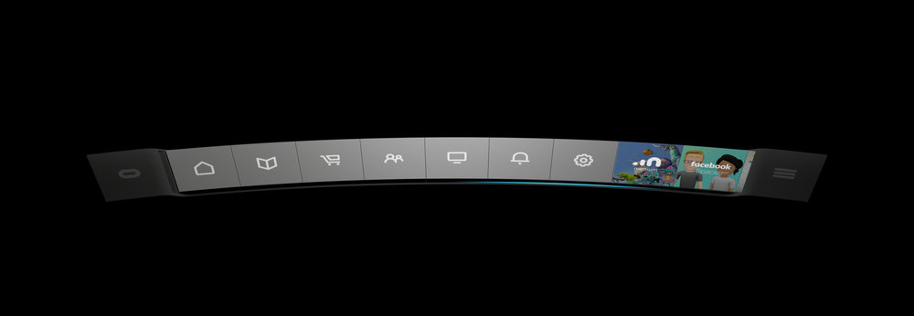 Final design for the Belt with buttons for System Icons, Experiences, and Desktop Apps.