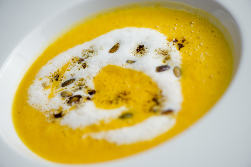 Roasted Butternut Squash Soup, Pumpkin Seed Oil