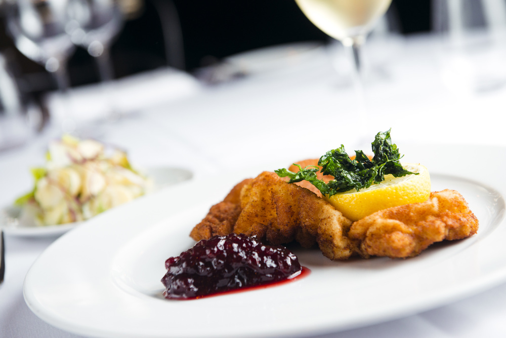 Wiener Schnitzel, Potato Cucumber Salad, Lingonberries