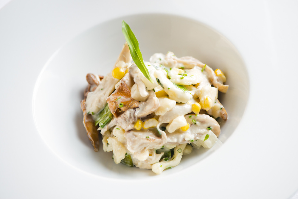 Spätzle, Rabbit, Corn, Tarragon, Mushrooms