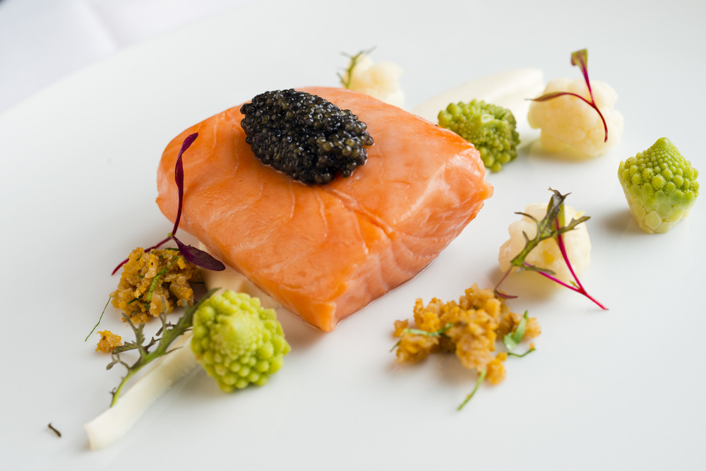 Smoked Wild Salmon, Hackleback Caviar, Cauliflower Cream, Romanesco