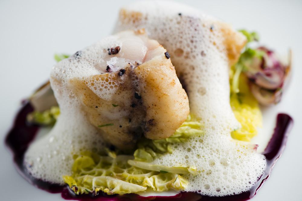 Icelandic Cod, Kohlrabi, Spinach, Riesling Sauce