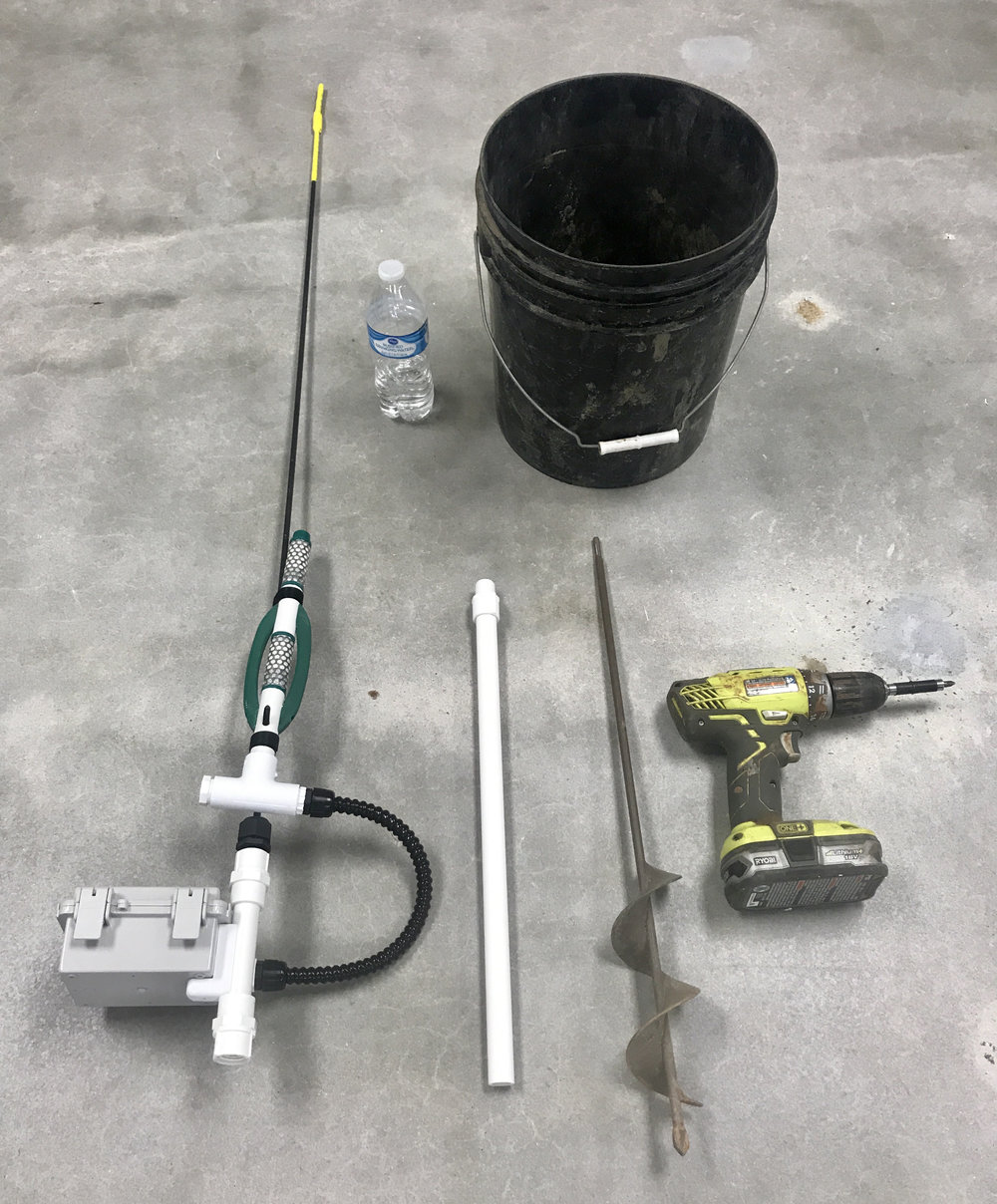 What do you need?  - 1. Sensor station2. Auger drill bit3. Empty bucket4. Mounting pole5. Cordless drill6. Water
