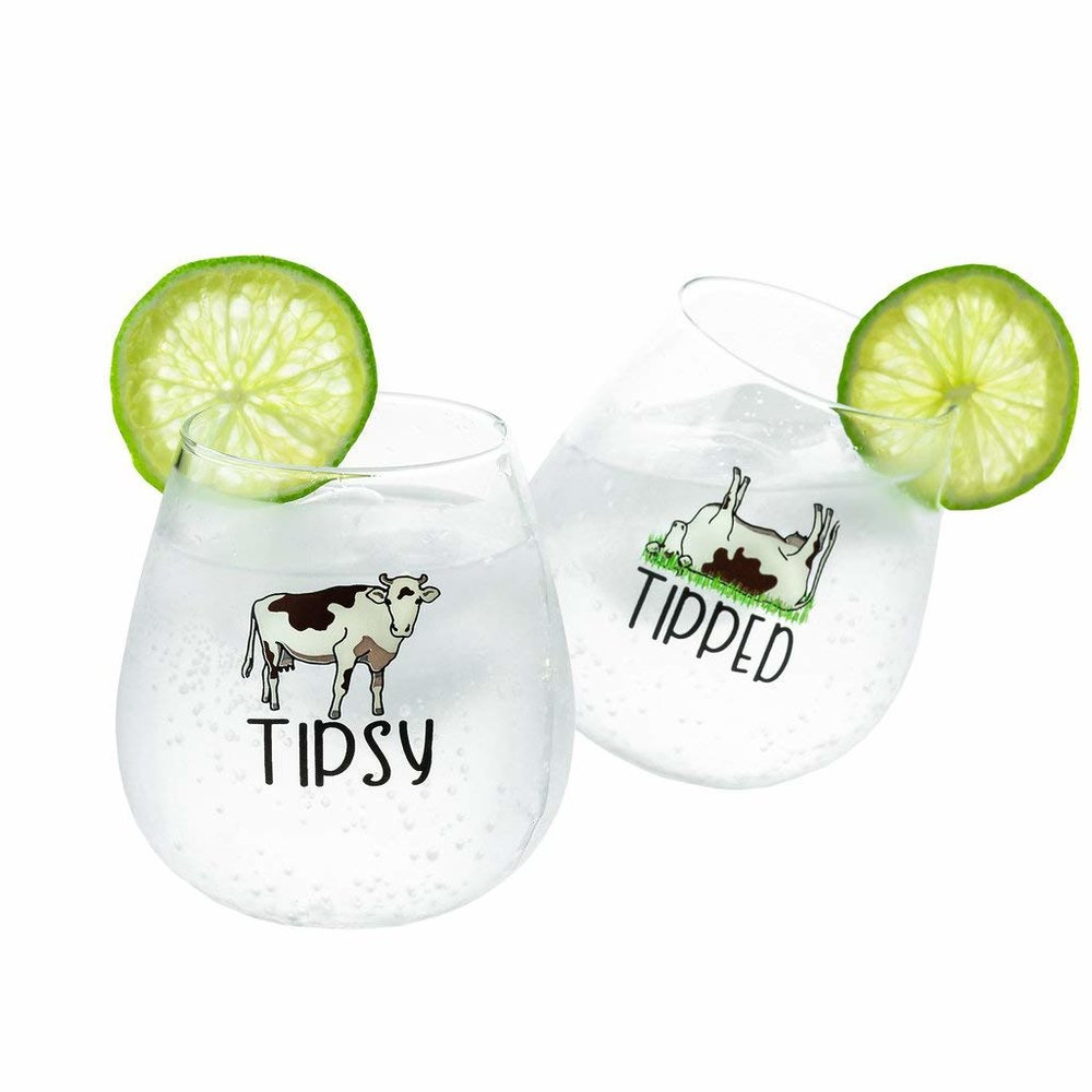 Tipsy and Tipped Wine Glasses - Not only are these cute, they're pretty dang funny! $29.95