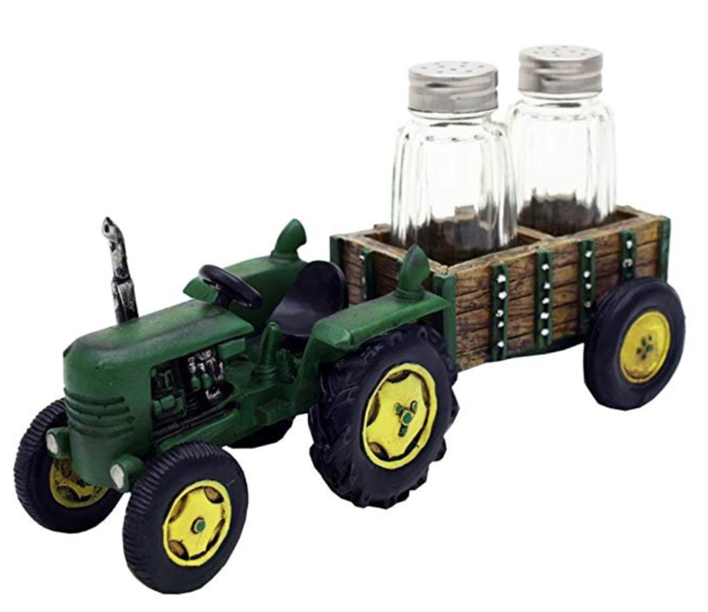 Tractor and Wagon Salt and Pepper Shaker Set - Looking for a new centerpiece for the table? This hand painted salt and pepper shaker set is perfect! $15.95