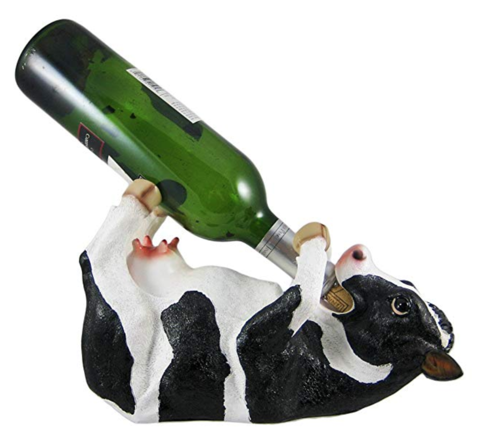 Cow Wine Bottle Holder - This cow wine holder is both funny and functional! $22.95