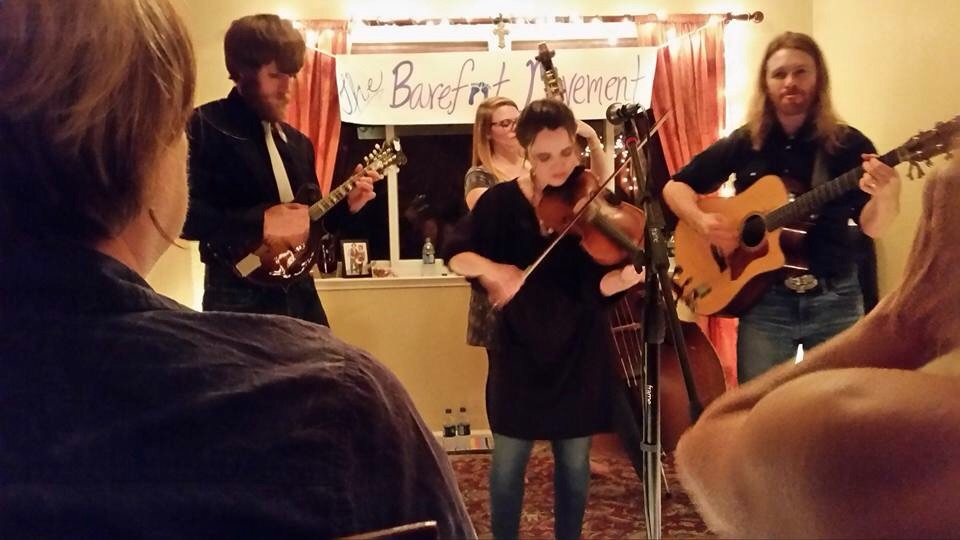 House concert, complete with our own banner!  Elk Grove, CA.