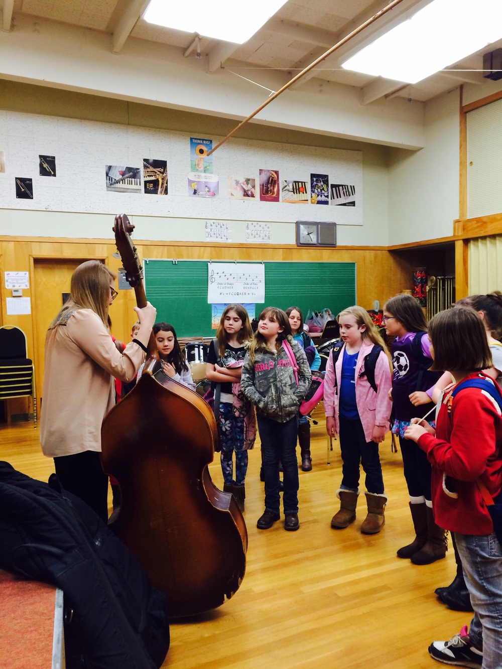 Katie Blomarz has been helping us out on upright bass, and she had quite the fan club at a school performance in Red Bluff, CA.