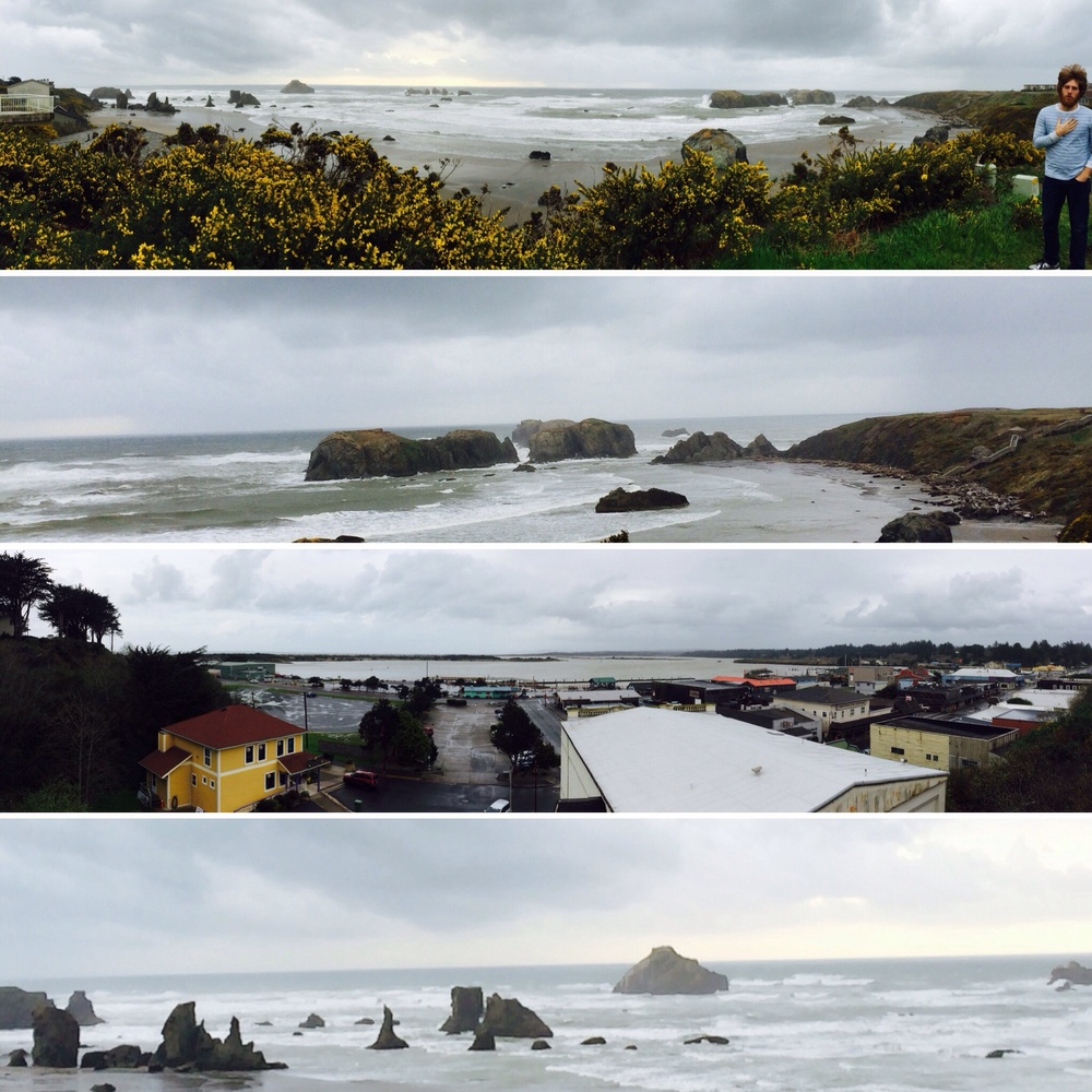 "The Oregon coastline.  Tommy singing ""God Bless America."" Classic. - Bandon, OR."