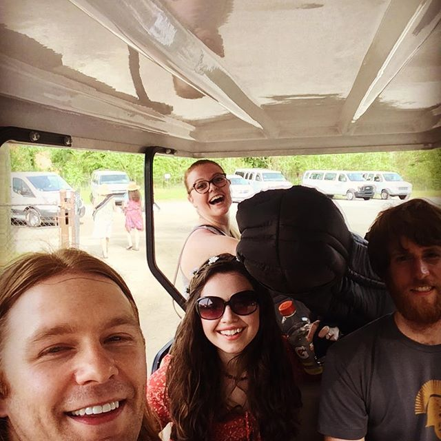 Golf cart selfie!  Merlefest does a great job of transporting us and all of our stuff from stage to stage!