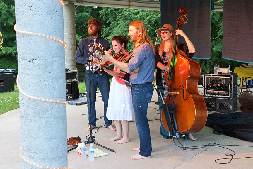 Playing some tunes at Meadowmont Gazebo in Chapel Hill, NC.  The rain eventually showed up, so we invited everyone to come under the shelter with us!