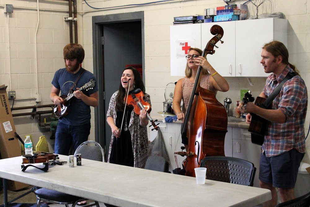 Impromptu concert for the folks at String Swing in rural Wisconsin, following an awesome factory tour!