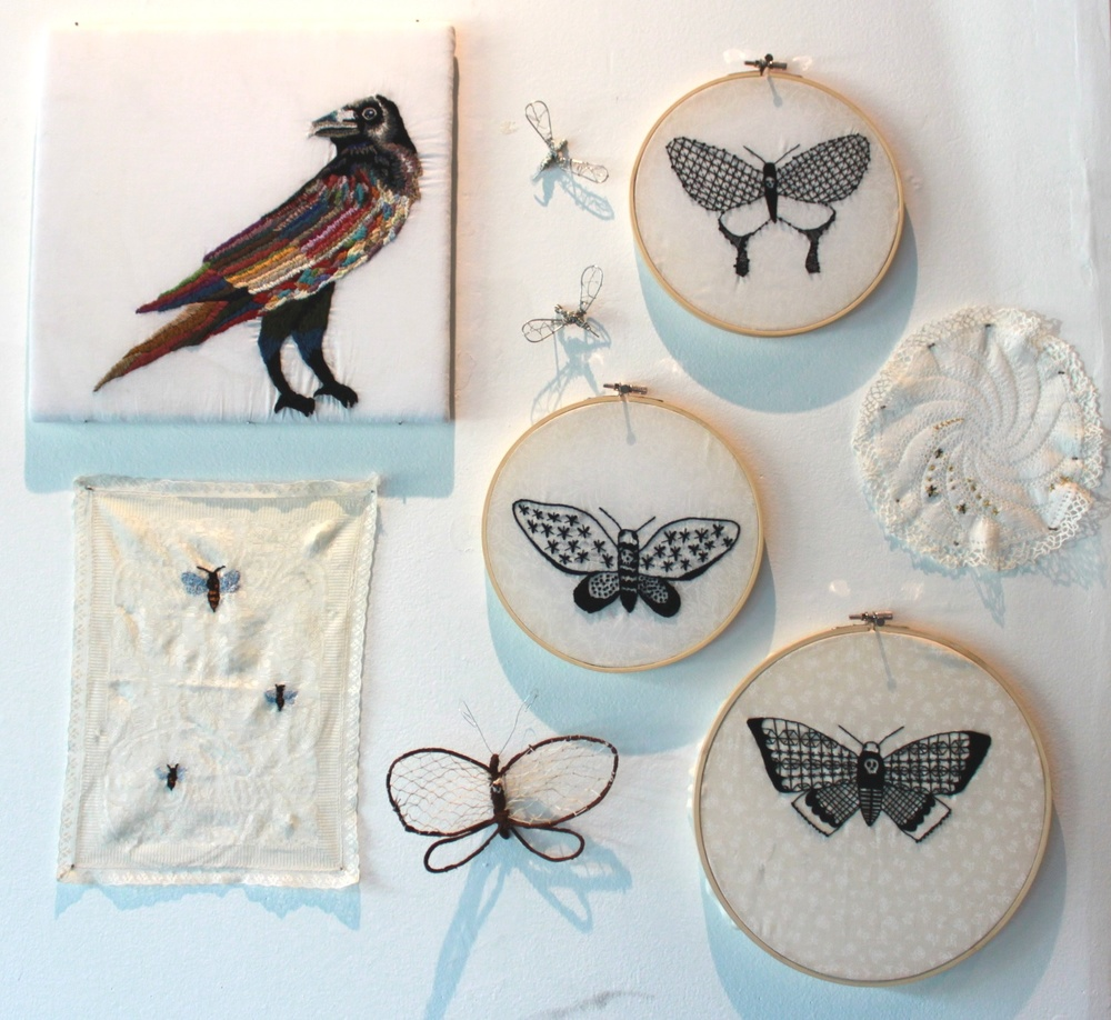 Crow, Wasp, & Moth embroideries & wire sculptures
