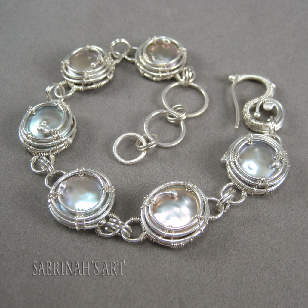 "Sabrinah's Art ""Rolling Waves"" Pearl and Fine Silver Wire Wrapped Bracelet"