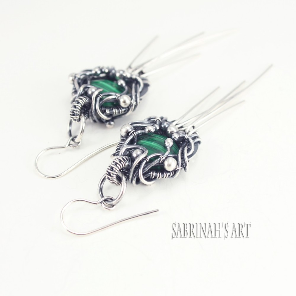 "Sabrinah's Art ""Merneith"" Malachite, Sterling and Fine Silver Wire Wrapped Earrings"