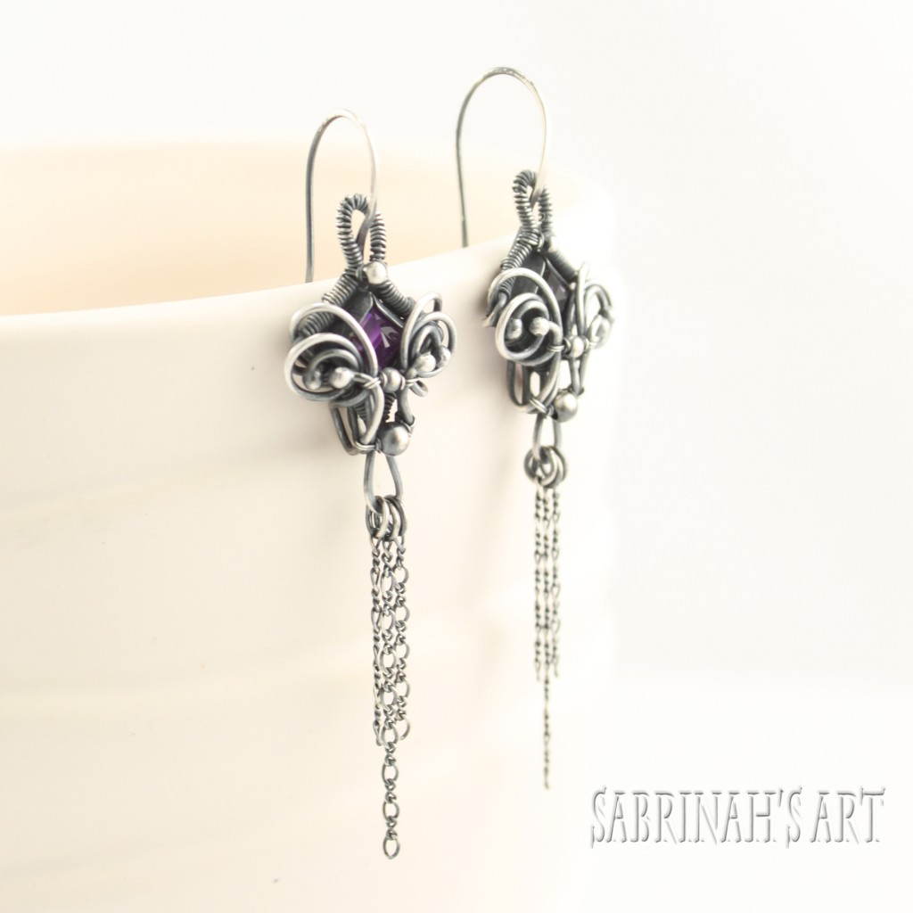 Amethyst Wire Wrapped Earrings