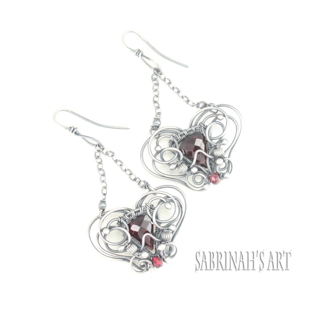 Garnet wire wrapped earrings