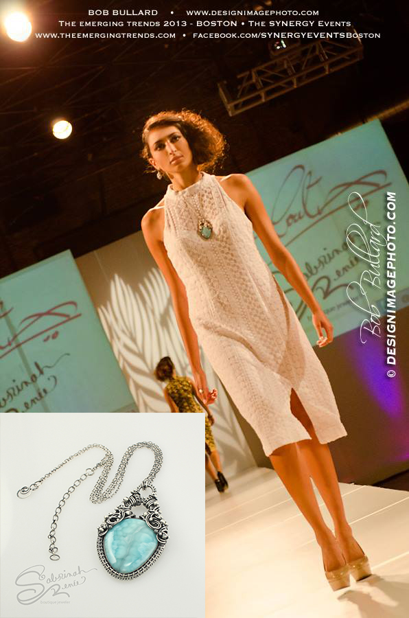 "Boston Fashion Week, Sabrinah Renee, Sabrinah's Art ""Archipelago"" Larimar Wire Wrapped Necklace and Earrings"
