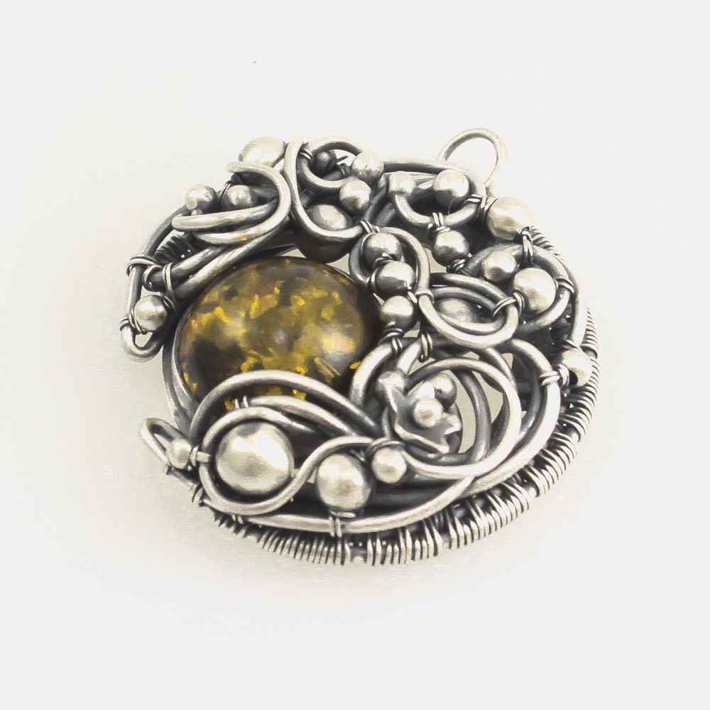 """Lunar Eclipse"" pendant in Amber by Sabrinah Renee, boutique jeweler"