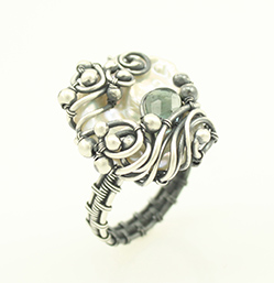 Pearl and Tourmaline Wire Wrapped Ring by Sabrinah Renee