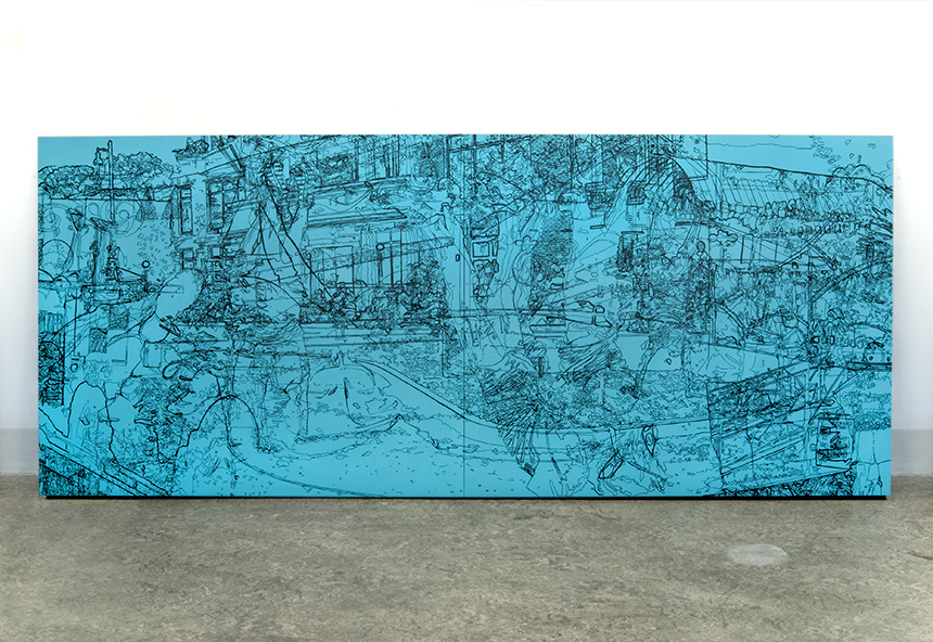 "Flip Town, acrylic on two handcrafted cradled panels, 30"" x 72"", 2014"