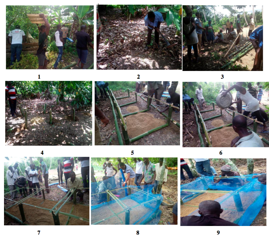 On the second day the participants were trained on choosing the right site for their individual snail farms. They were also taught how to construct two forms of snailery. One was the use of local raw materials such as bamboo and nets and the second was a hutch box made of cedar wood or any other kind of wood. A demonstration farm was created to show how hutch boxes or other pens were made using local materials and cedar wood. They were told to get a land with zero salt and anything that contain parasites and predators from harming the snails.
