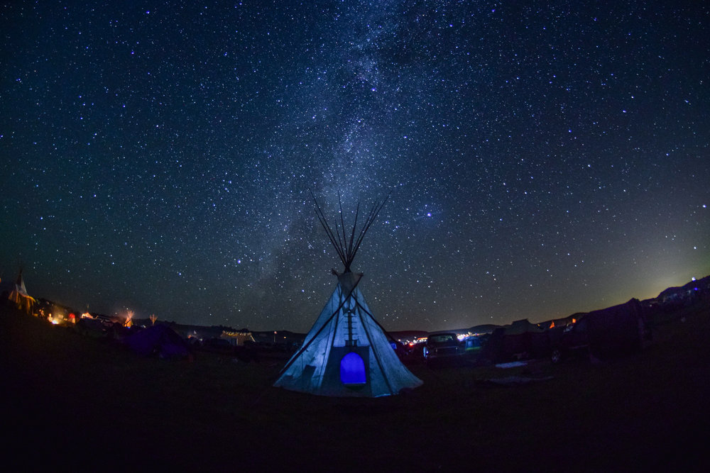 The Milky Way forms over a tipi in Oceti Sakowin Camp. // September 7th, 2016.