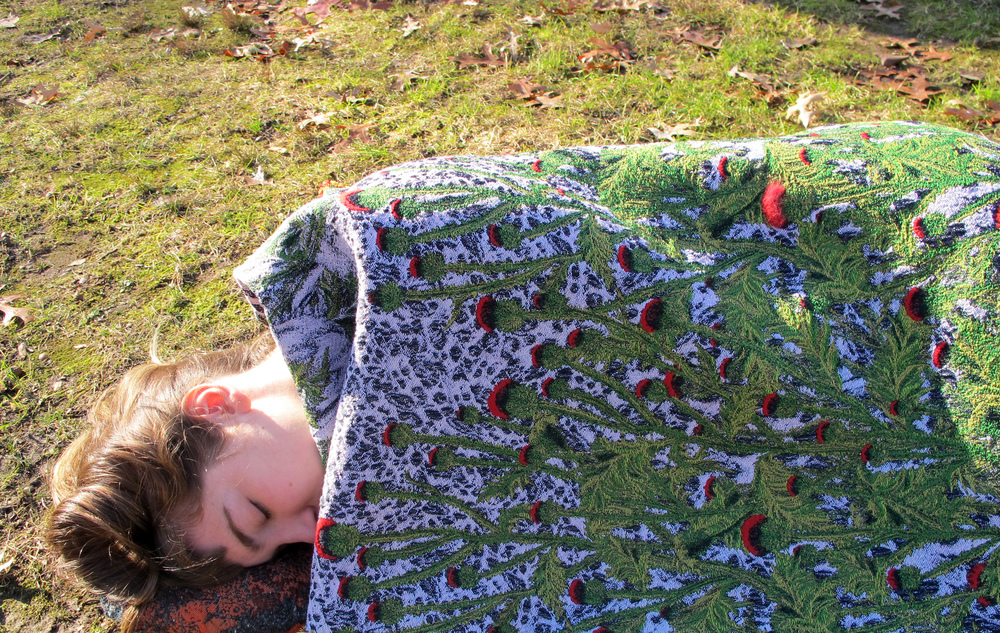 Thistle Jacquard Blanket. Wool and rayon with needle-felted wool.