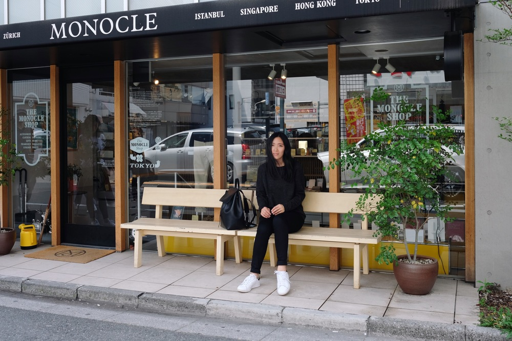 ZADY   Sweater   / ACNE STUDIOS   Jeans    /  MANSUR GAVRIEL   Bagpack   (More   here  )   / ADIDAS   Sneakers      The Monocle Shop   in Shibuya