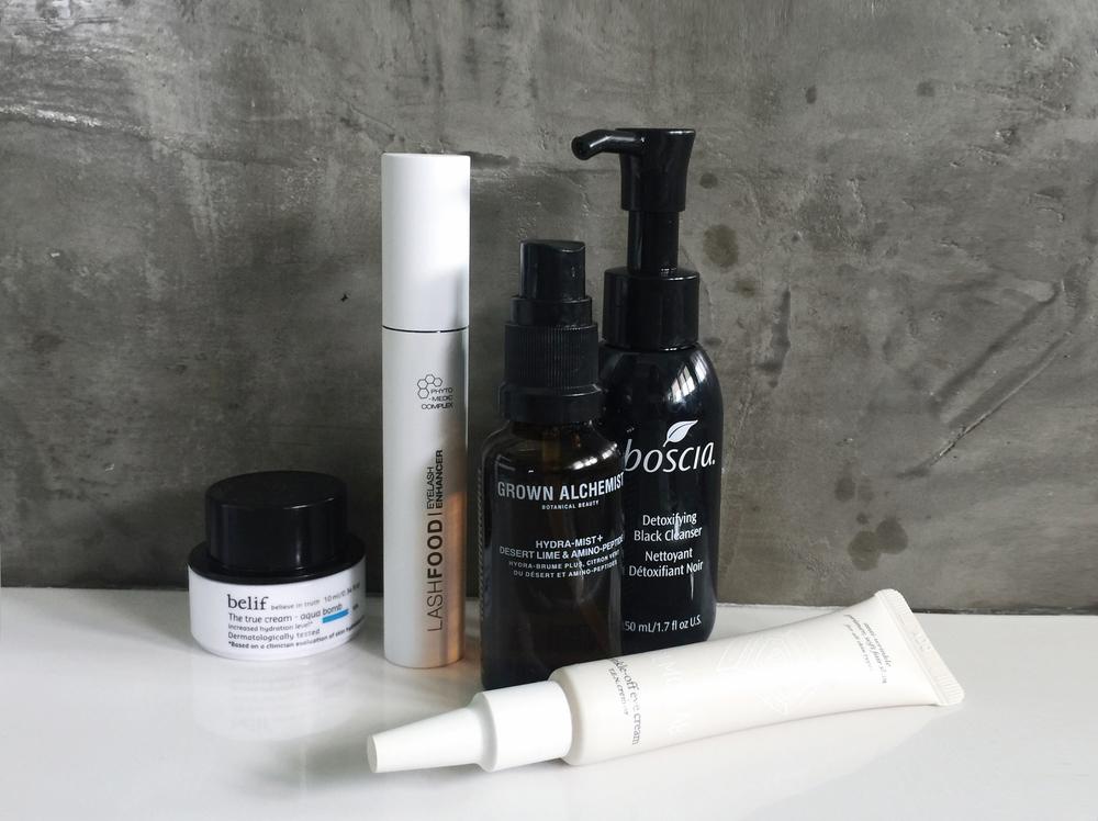 BELIF Aqua Bomb / LASHFOOD Lash Enhancer / GROWN ALCHEMIST Hydra-Mist /BOSCIA Detoxifying Cleanser/ CREMORLAB Eye cream