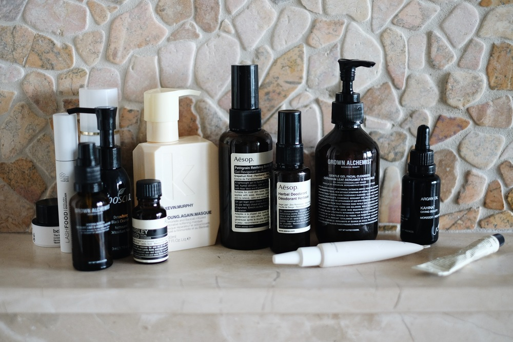 BELIF    Aqua Bomb    / LASHFOOD    Lash Enhancer    / GROWN ALCHEMIST    Hydra-Mist    / BOSCIA    Detoxifying Cleanser    / AESOP   Parsley Seed Cleanser   / KEVIN MURPHY   Hair Mask   / AESOP   Petitgrain Body Gel   and   Herbal Deodorant   / GROWN ALCHEMIST   Gentle Cleanser   / KAHINA BEAUTY   Argan Oil   / CREMORLAB    Eye cream   / GROWN ALCHEMIST   Day Cream    My beauty essentials at home, and when I travel. The  AESOP    Petitgrain Body Gel     is one of the best things you can do for your skin after spending too much time in the sun.